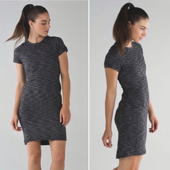 lululemon athletica Dresses & Skirts - Lululemon &go Where-To Dress Heathered Black Sz 8